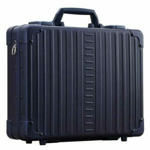 Side of aluminum briefcase blue in color