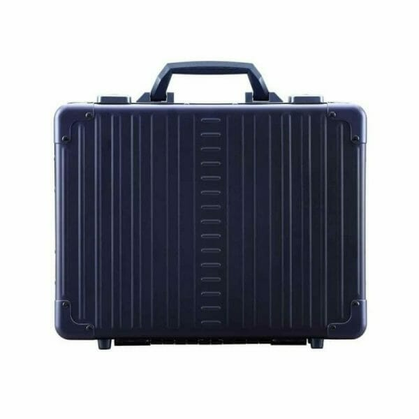 blue briefcase that is aluminum with handle and locking