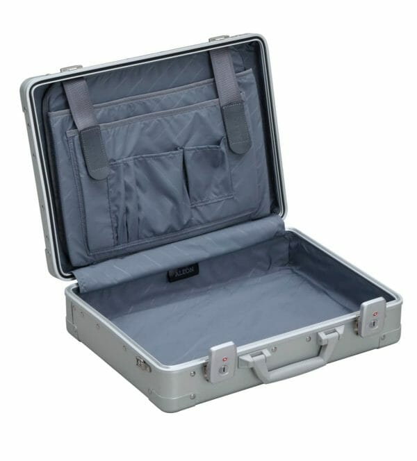 aluminum briefcase attche opened