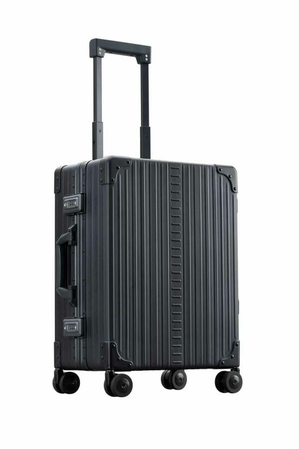 Classic Carry-On in black made with aluminum
