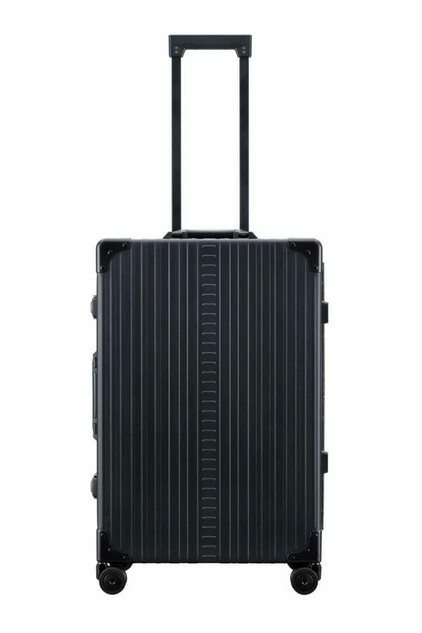 26 inch aluminum checked suitcase with wheels in black