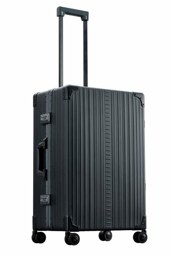 26 inch suitcase checked bag in black made with aluminum