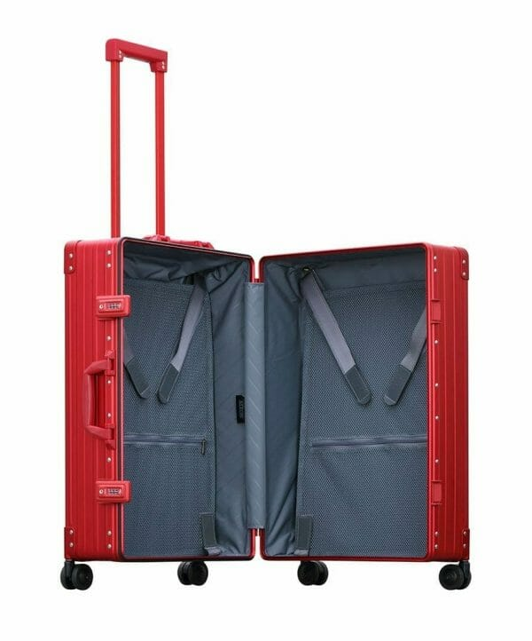 26 inch aluminum checked suitcase with wheels