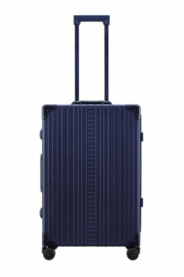 26 inch aluminum checked suitcase with wheels in blue