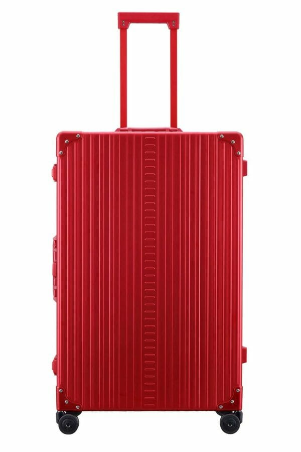 red 30 inch aluminum suitcase with spinner wheels