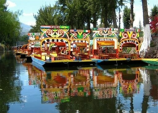 4 boat full of color on swamps by mexico city