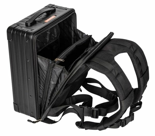 Aluminum Backpack Black showing straps and is open