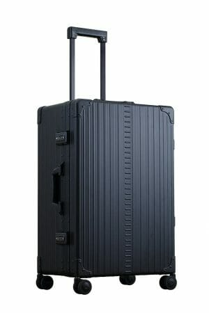 Black-26-inch-luggage-hardside-with-garment-bag-inside-with-sippner-wheels-and-trunk-styled